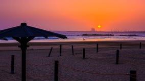 Piękny zmierzch w Agadir, Maroko Zdjęcia Royalty Free