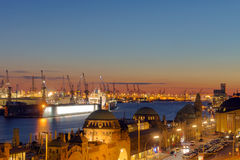 Piękny zmierzch w Hamburg Zdjęcia Royalty Free