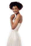 Pięknych potomstw wzorcowa jest ubranym partyjna suknia Fotografia Royalty Free