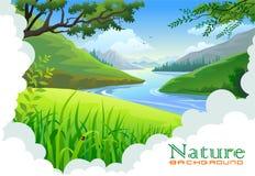 pięknych wzgórzy krajobrazowa rzeka Obrazy Royalty Free