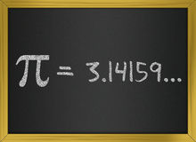 Pi number on a blackboard Royalty Free Stock Images