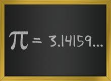 Pi number on a blackboard. Illustration representin the greek pi number Royalty Free Stock Images