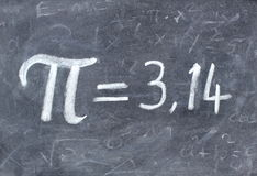 Pi number on blackboard stock photo