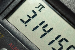 Pi number on calculator. 's LCD. Close-up shot Stock Photography