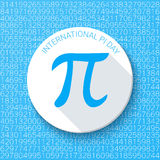 Pi sign on a blue background. Mathematical constant, irrational number. Abstract vector illustration for a Pi Day. Pi sign with a shadow on a blue background Stock Photo