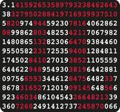 Pi sign and pi numbers on black background. Vector Stock Images