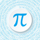 Pi sign with a shadow on a blue background. Mathematical constant, irrational complex number, greek letter. Stock Photography