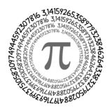The Pi symbol mathematical constant irrational number on circle, greek letter royalty free illustration