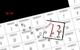 Piątku 13th kalendarz Obrazy Royalty Free