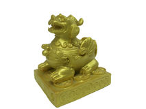 Pi Xiu , gold Chinese good luck charm. On white background stock photos