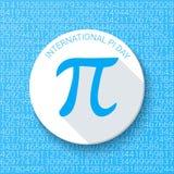 Pi znak na błękitnym tle Matematycznie konstanta, irracjonalistyczna liczba Abstrakcjonistyczna wektorowa ilustracja dla Pi dnia Zdjęcie Stock