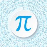 Pi znak z cieniem na błękitnym tle Matematycznie konstanta, irracjonalistyczna powikłana liczba, grka list royalty ilustracja