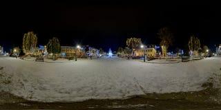 Piața Trandafirilor in winter at night, Târgu Mureș, Romania. 360 panorama of a snow-covered Piața Trandafirilor Roses` Square in winter nighttime, town Stock Images