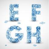 Pia batismal de vetor feita das letras azuis do alfabeto Imagens de Stock
