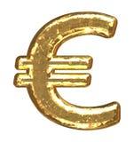 Pia batismal dourada. Euro- sinal Foto de Stock Royalty Free