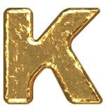 Pia batismal dourada. Letra K. Imagens de Stock Royalty Free