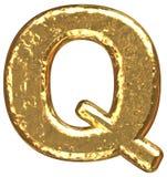 Pia batismal dourada. Letra Q. Fotos de Stock Royalty Free