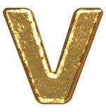 Pia batismal dourada. Letra V. Fotografia de Stock Royalty Free