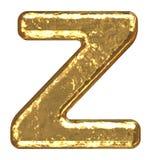 Pia batismal dourada. Letra Z. Foto de Stock Royalty Free