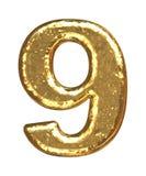 Pia batismal dourada. Número nove Fotografia de Stock