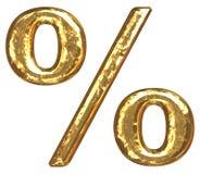 Pia batismal dourada. Sinal de por cento Foto de Stock Royalty Free