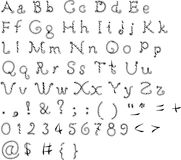 Pia batismal original, alfabeto em um fundo branco Foto de Stock Royalty Free