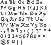Pia batismal original, alfabeto em um fundo branco Fotos de Stock Royalty Free
