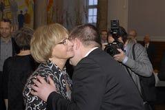 PIA KJAERSGAARD 30 ANS DANS LA POLITIQUE Photos libres de droits
