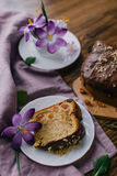 Piace of cake with flowers around and coffee Stock Photography