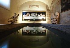 PIACENZA 25 April 2018: Ultima cena av ULISSE SARTINI som är utsatt i den Piacenza kupolen i kapellet Madonna del popolo italy pi arkivbild