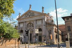 Facade of St. Agostino Basilica in Piacenza, Italy Royalty Free Stock Photo