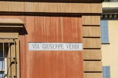 Street name indicator on the wall of house in Piacenza, Italy Stock Images