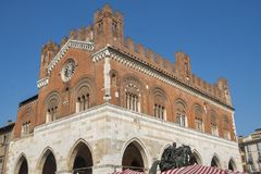 Piacenza: Piazza Cavalli, main square of the city Stock Photos