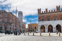 Piacenza, medieval town, Italy. City center with piazza Cavalli square horses, palazzo Gotico Stock Images