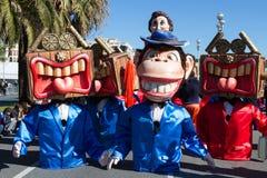 PIACEVOLE, LA FRANCIA - 22 FEBBRAIO: Carnevale di Nizza in Riviera francese Il tema per 2015 era re di musica Piacevole, la Franc Fotografia Stock