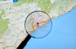 Piacevole, la Francia su Google Maps Immagine Stock