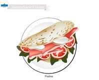 Piadina, A Famous Dish in San Marino. Sammarinese Cuisine, Illustration of Piadina or Flat Bread Filled with Roasted Meat or Ham, Cheese and Vegetables. One of stock illustration
