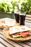 Piadina: Italian sandwich Royalty Free Stock Photos