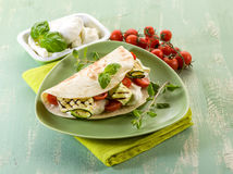 Piadina with mozzarella Stock Photo