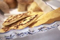 Piadina Romagnola and bread Stock Photos
