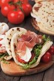 Piadina romagnola, italian flatbread sandwich Stock Photography