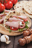 Piadina romagnola, italian flatbread sandwich Royalty Free Stock Image