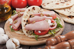 Piadina romagnola, italian flatbread sandwich Stock Photo