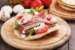 Piadina romagnola, italian flatbread sandwich Royalty Free Stock Photo