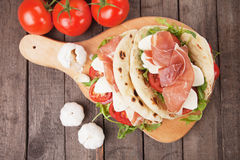 Piadina romagnola, italian flatbread sandwich Royalty Free Stock Photography
