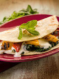 Piadina with spinach Royalty Free Stock Images
