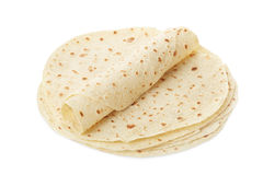 Piadina, Tortilla und Verpackung lizenzfreies stockbild