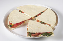 Piadina vegetariana. With saland and vegetables Stock Images