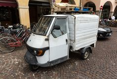 Piaggio Ape50 in Rome. Piaggio Ape is a three-wheeled light commercial vehicle first produced in 1948 by Piaggio. Padua. Italy stock image