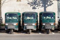 Piaggio Ape50 in a row in Rome. Stock Photos